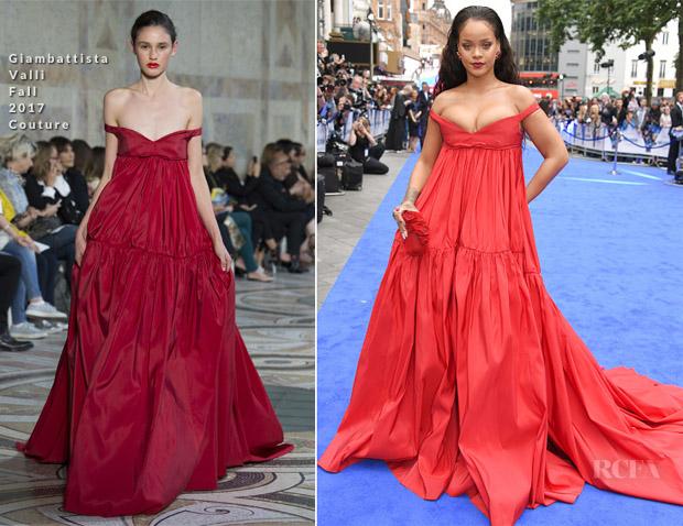 Rihanna in a red dress