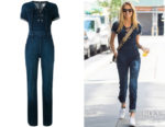 Romee Strijd's  FRAME's Le Jumpsuit Lace Up in Prosser