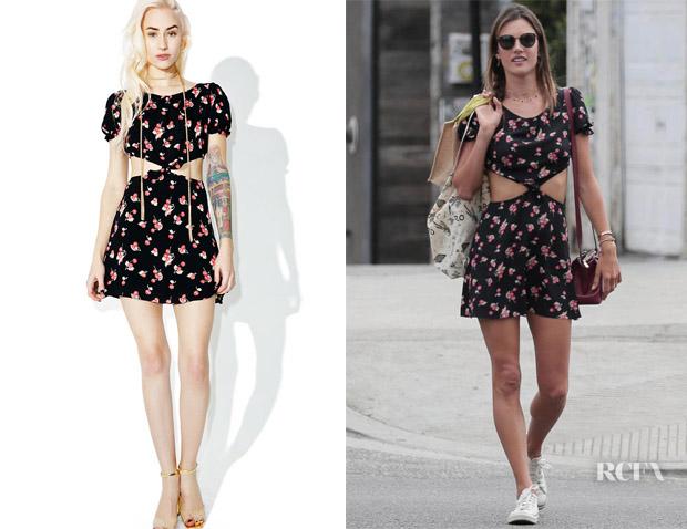 520303e6577 Alessandra Ambrosio s For Love   Lemons Cherry Cut Out Dress