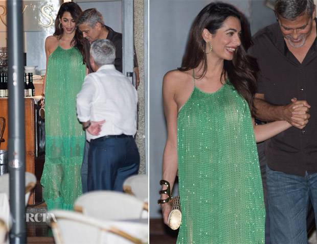 Amal Clooney stuns in a sparkling green Stella McCartney gown in Italy