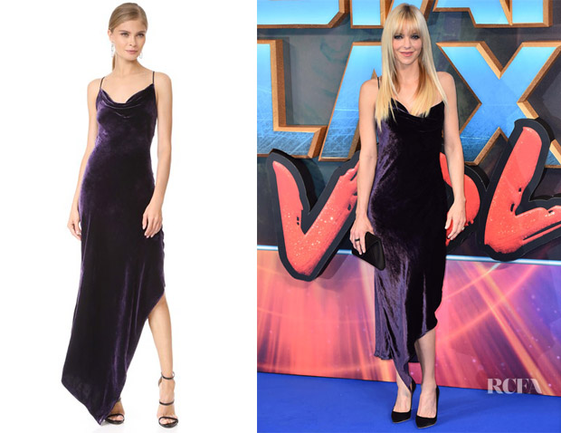 Anna Faris' Juan Carlos Obando Purple Asymmetrical Cocktail Dress