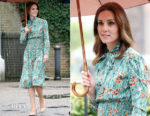Catherine, Duchess Of Cambridge visits The White Garden at Kensington Palace in Prada