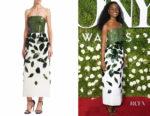 Denée Benton's Oscar de la Renta Strapless Faille Dress