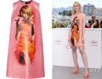 Elle Fanning's Prada Printed Coated-Cotton Mini Dress