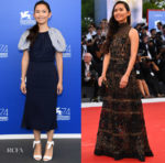 Hong Chau In Salvatore Ferragamo & Elie Saab - 'Downsizing' Venice Film Festival Photocall & Premiere