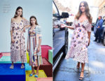 Jessica Alba showcases her blossoming baby bump in Tanya Taylor