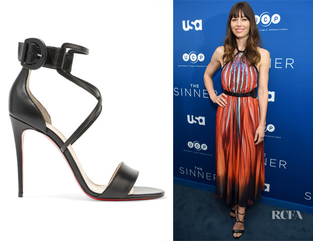 71df8249b39 Jessica Biel's Christian Louboutin Choca 100 Leather Sandals - Red ...