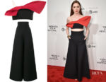Karen Gillan's Vika Gazinskaya Bow Crop Top & Trousers