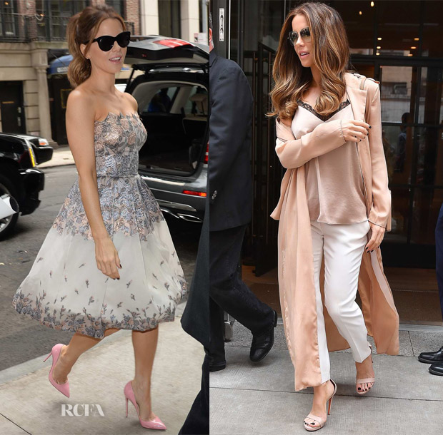 Kate Beckinsale hits the streets of NYC in Blumarine & Aritzia