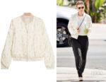 Kate Mara's Elizabeth and James Jacque Floral-Print Silk-Satin Bomber Jacket