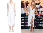 Martha Hunt's Khaite Angela Tie-Waist Dress