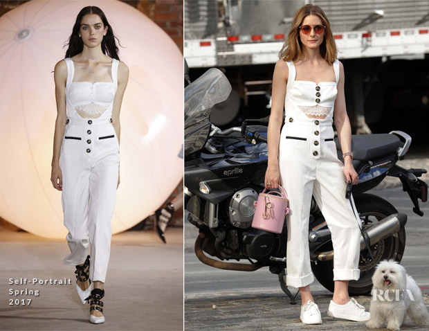 ddad2c1e42106c Olivia Palermo rocks a French girl style Self-Portrait summer jumpsuit