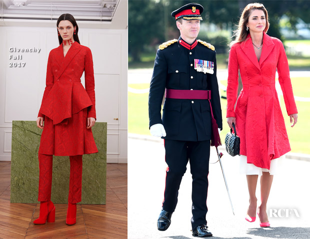 Queen Rania of Jordan In Givenchy - The Sovereign's Parade At Sandhurst
