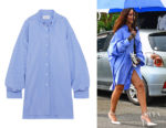 Rihanna's Maison Margiela Oversized striped shirt dress