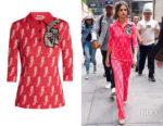 Selena Gomez' Miu Miu Parrot-Intarsia Wool-Blend Top
