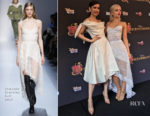 Sofia Carson In Vivienne Westwood & Dove Cameron In Ermanno Scervino - 'Descendants 2' Mexico City Premiere