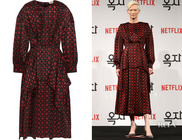Tilda Swinton's Fendi Layered Silk-Jacquard Midi Dress