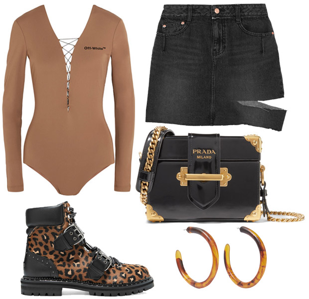 0a25ab901c877 SJYP Steve J & Yoni P Cutout Distressed Denim Mini Skirt · Prada Cahier Box  Patent-Leather Shoulder Bag · Dinosaur Designs Resin Hoop Earrings · Jimmy  Choo ...