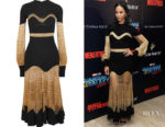 Zoe Saldana's Alexander McQueen Metallic Open-Knit and Ribbed Wool-Blend Midi Dress