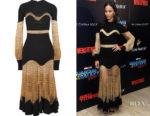 Zoe Saldana's Alexander McQueen Metallic Open-Knit and Ribbed Wool-Blend Midi Dress