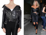 Charlotte McKinney's Balenciaga Off-The-Shoulder Leather Biker Jacket
