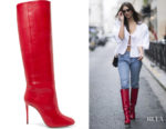 Emily Ratajkowski's Aquazzura Brera Leather Knee Boots