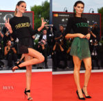 Izabel Goulart & Isabeli Fontana bring Alberta Ferretti's Days-of-the-Week sweaters to Venice Film Festival