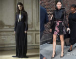 Jessica Biel In Greta Constantine & Giambattista Valli - The Late Show with Stephen Colbert