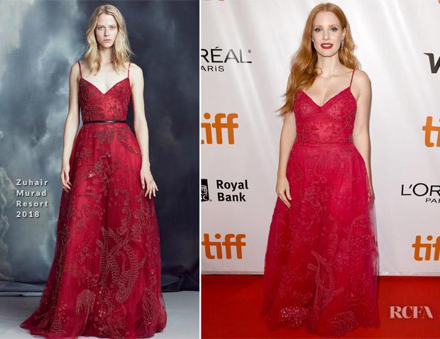 c033078412ba Jessica Chastain In Zuhair Murad – 'Woman Walks Ahead' Toronto Film  Festival Premiere