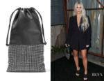 Kim Karadashian's Alexander Wang Ryan Crystal-Embellished Leather Pouch