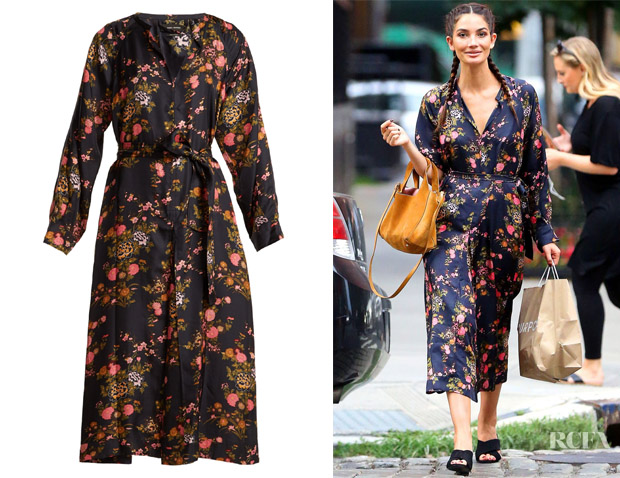 f4b4fd585f4 Lily Aldridge's Isabel Marant Olympia Floral-Print Silk Dress - Red ...