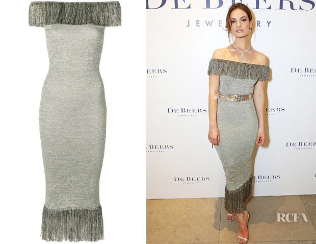 Lily James' Christopher Kane Metallic Fibre Fringe Dress