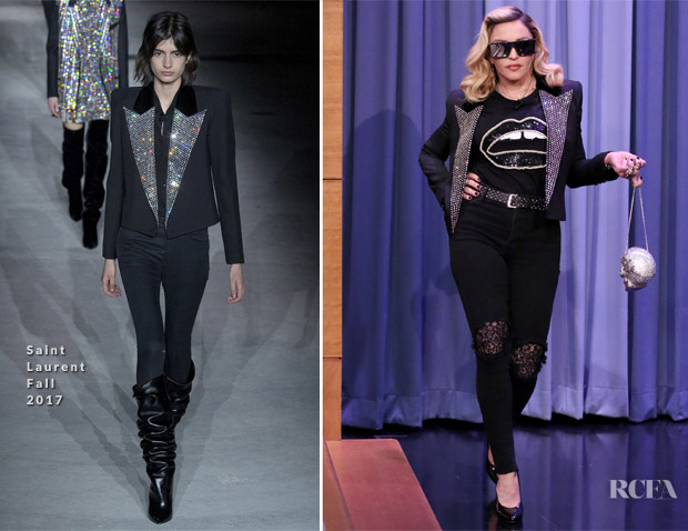 Madonna In Saint Laurent & Markus Lupfer - The Tonight Show Starring Jimmy Fallon