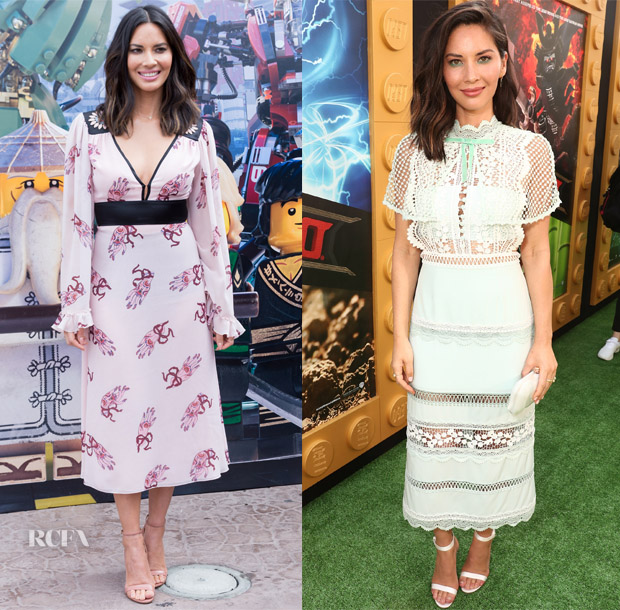 Olivia Munn In Giamba & Self Portrait - 'The LEGO Ninjago Movie'  Photocall & Premiere