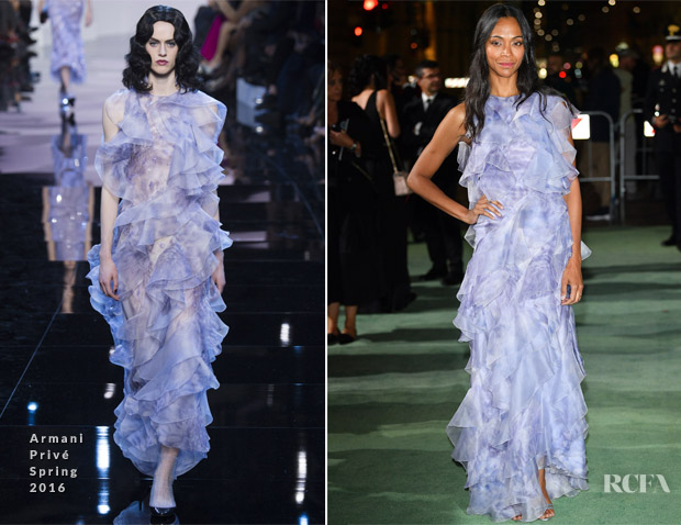 Zoe Saldana In Armani Privé - Green Carpet Fashion Awards