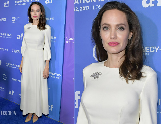 Angelina Jolie In Ulyana Sergeenko Demi-Couture - 'The Breadwinner' LA Premiere