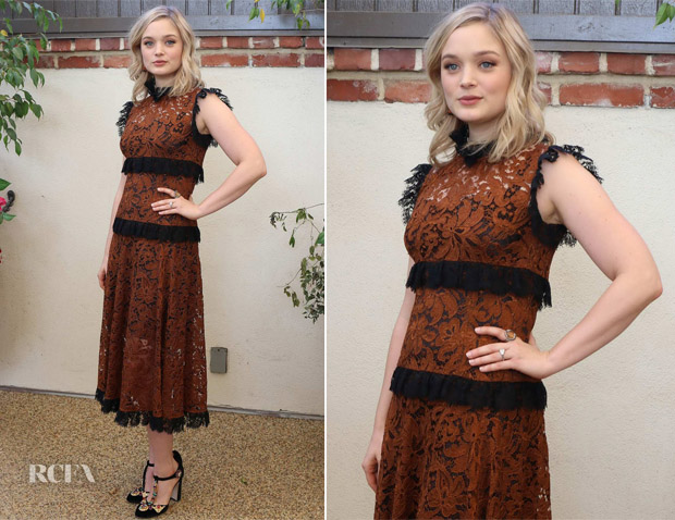 Bella Heathcote In Dolce & Gabbana - 'Professor Marston and the Wonder Women' Press Conference