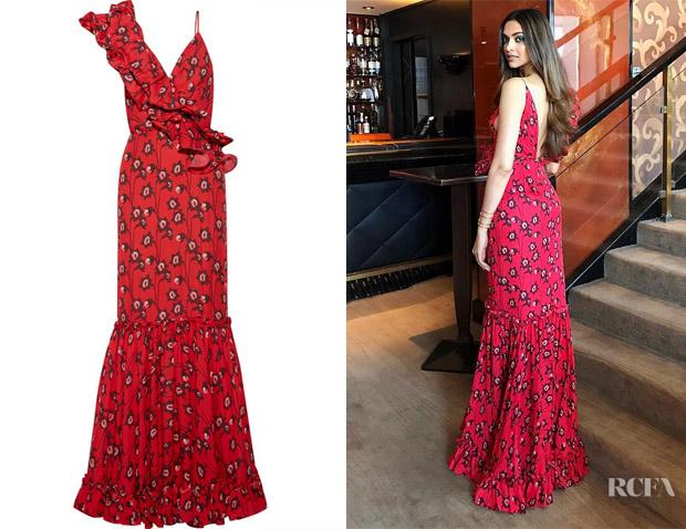 Deepika Padukone's Johanna Ortiz Ruffled Floral-Print Gown