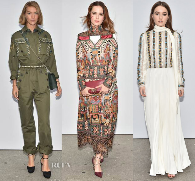 2b6a69e79c5 Arizona Muse  The variety of the Valentino Resort 2018 collection continued  to march on with Arizona s army-green flight suit that had her fully  prepared ...