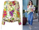 Jenna Dewan-Tatum's Balenciaga Slide Floral Blouse