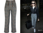 Kaia Gerber's Self-Portrait Lexi Ruffled Prince of Wales Checked Trousers
