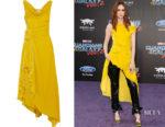 Karen Gillian's Monse Off-The-Shoulder Knotted Velvet Dress