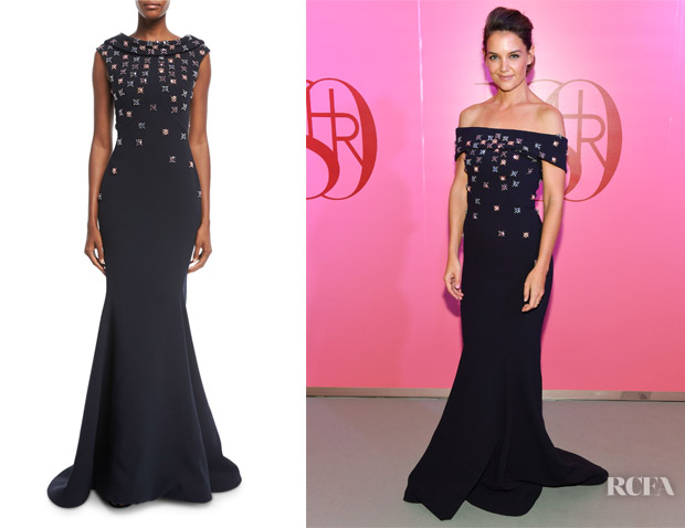 Katie Holmes' Zac Posen Floral-Embroidered Cowl-Neck Gown