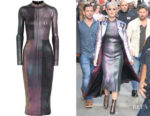 Katy Perry's Christopher Kane Metallic Ribbed-Knit Midi Dress