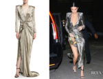 Kendall Jenner's Redemption Long-Sleeve Wrap-Front Metallic Gown