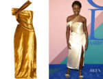 Lupita Nyong'o's Jason Wu One-Shoulder Cutout Velvet Dress