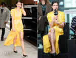 Margaret Qualley In Saloni & Miu Miu - Build Series & 'Novitiate' New York Screening