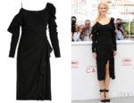 Nicole Kidman's Versace Asymmetric Open-Shoulder Ruffle-Detail Dress