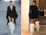 Rihanna is already rocking Saint Laurent's Spring 2018 feather boots