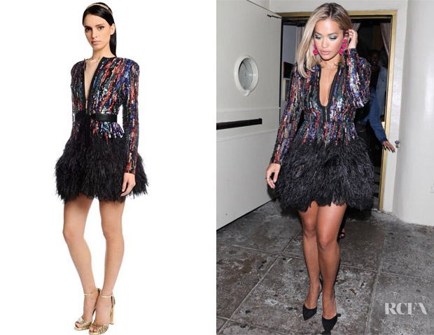 df8aa1bc20a0 Rita Ora's Elie Saab Feather Trimmed Embroidered Dress